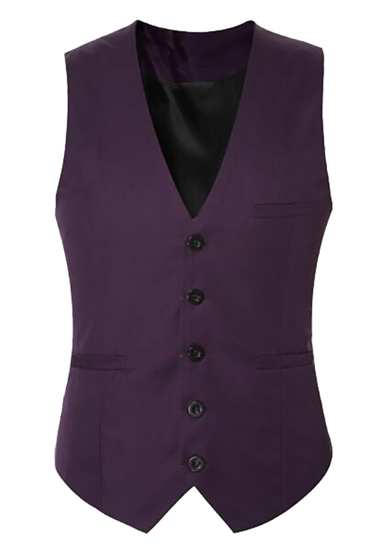UUYUK Mens Light Weight Open Front Wedding Pure Color Jacket Vest Sapphire Purple US XL