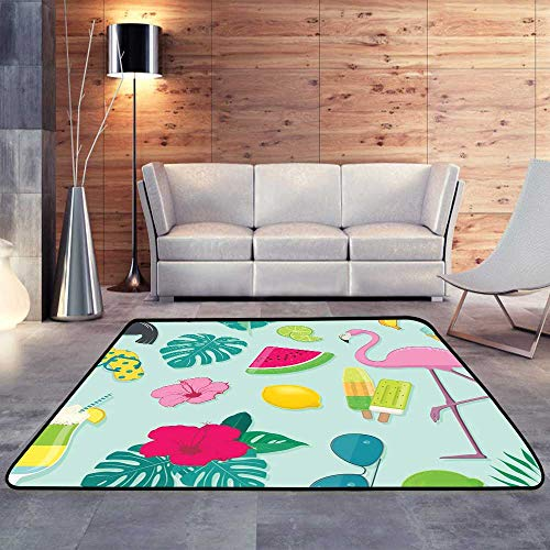 Bathroom Rugs,Vector Collection of Summer Party iconsW 35