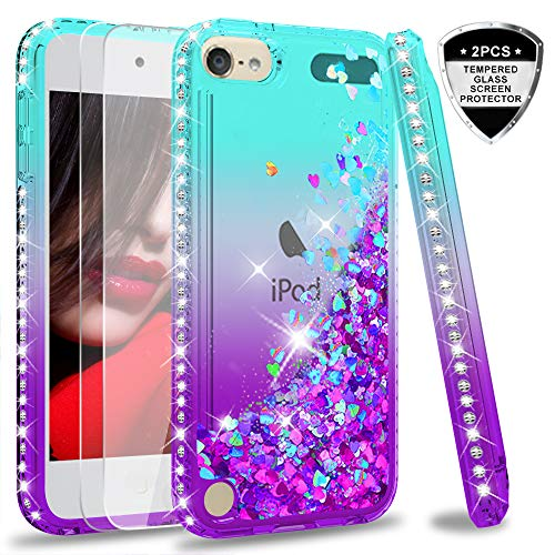 iPod Touch 7 Case, iPod Touch 6 Case, iPod Touch 5 Case with Tempered Glass Screen Protector [2 Pack] for Girls, LeYi Glitter Liquid Clear Phone Case for Apple iPod Touch 7th/ 6th/ 5th Gen Teal/Purple (Ipod Touch Covers For Kids)
