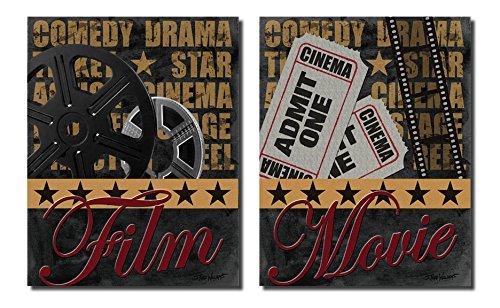Movie Night! Retro, Vintage Movie Film Ad Poster; Two 11 x 1
