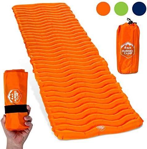 Rugged Camp Air Mat Camping Sleeping Pad – Ultralight 17.2 OZ – Best Inflatable Sleeping Air Mattress for Backpacking, Hiking, Traveling Lightweight Compact Camp Sleep Pad Air Mat