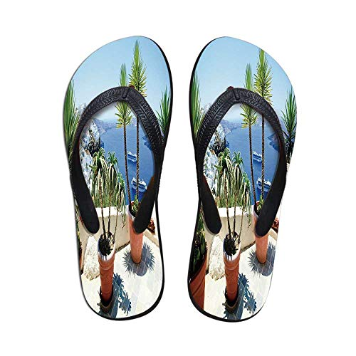 - Travel Decor Comfortable Flip Flops,Vacation in Santorini Balcony Overlooking The Old Volcano The Caldera Aegean for Pool Garden,US Size 6