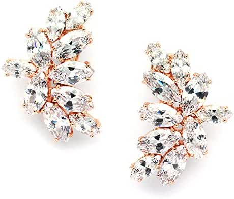 Mariell Blush Rose Gold CZ Earrings with Marquis-Cut Clusters - Bridal, Wedding & Mother of Bride Glamour