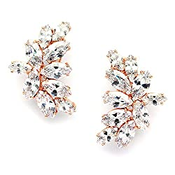 Rose Gold CZ Earrings with Marquis-Cut Clusters
