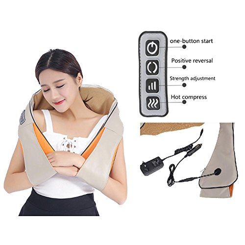 Jannyshop Electric Massage Shawl Multi-Function Massager Heating Depth Kneading Tissue Massage Muscle Pain Relief Relaxing in Car Office and Home - Meridian Tissue