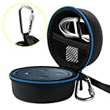 Travel Portable Carrying Protective Hard Case Box Pouch for Amazon All-New Echo Dot(2nd Generation) with Carabiner(Fits USB Cable and Wall Charger) (Black(Blue Zipper)-PU Material)