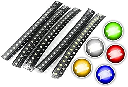 Chanzon (5 Colors x 20 pcs = 100 pcs) 0603 SMD LED Diode Lights Assorted Kit (Mini Chip 1.6mm x 0.8mm for PCB DC 20mA) Super Bright Lighting Bulb Lamps Electronics Components Light Emitting Diodes