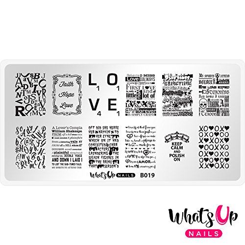 Whats Up Nails - B019 Words of Emotions Stamping Plate for Nail Art Design -