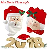 SJ-LONG T-Raputa Christmas Santa Hat Chair Covers Christmas Decorations Chair Covers Kitchen Chair Covers Sets for Christmas Holiday Festive Decor( Mrs Santa Claus)