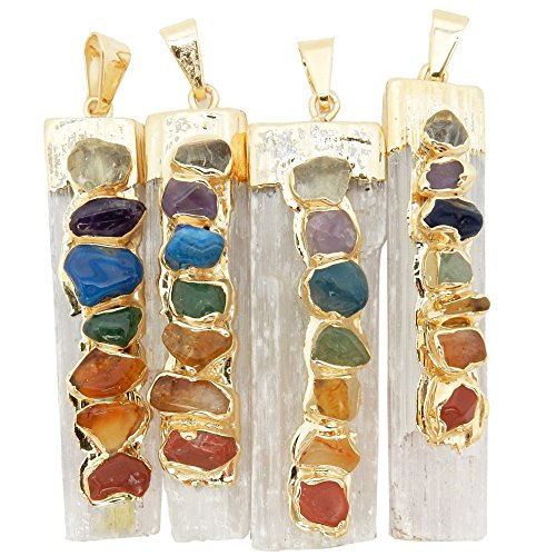 Rock Paradise Pendants ONE Selenite Freeform Pendant w/ 7 Chakra Stone Accents Gold Plated Cap/Bail RP Exclusive COA