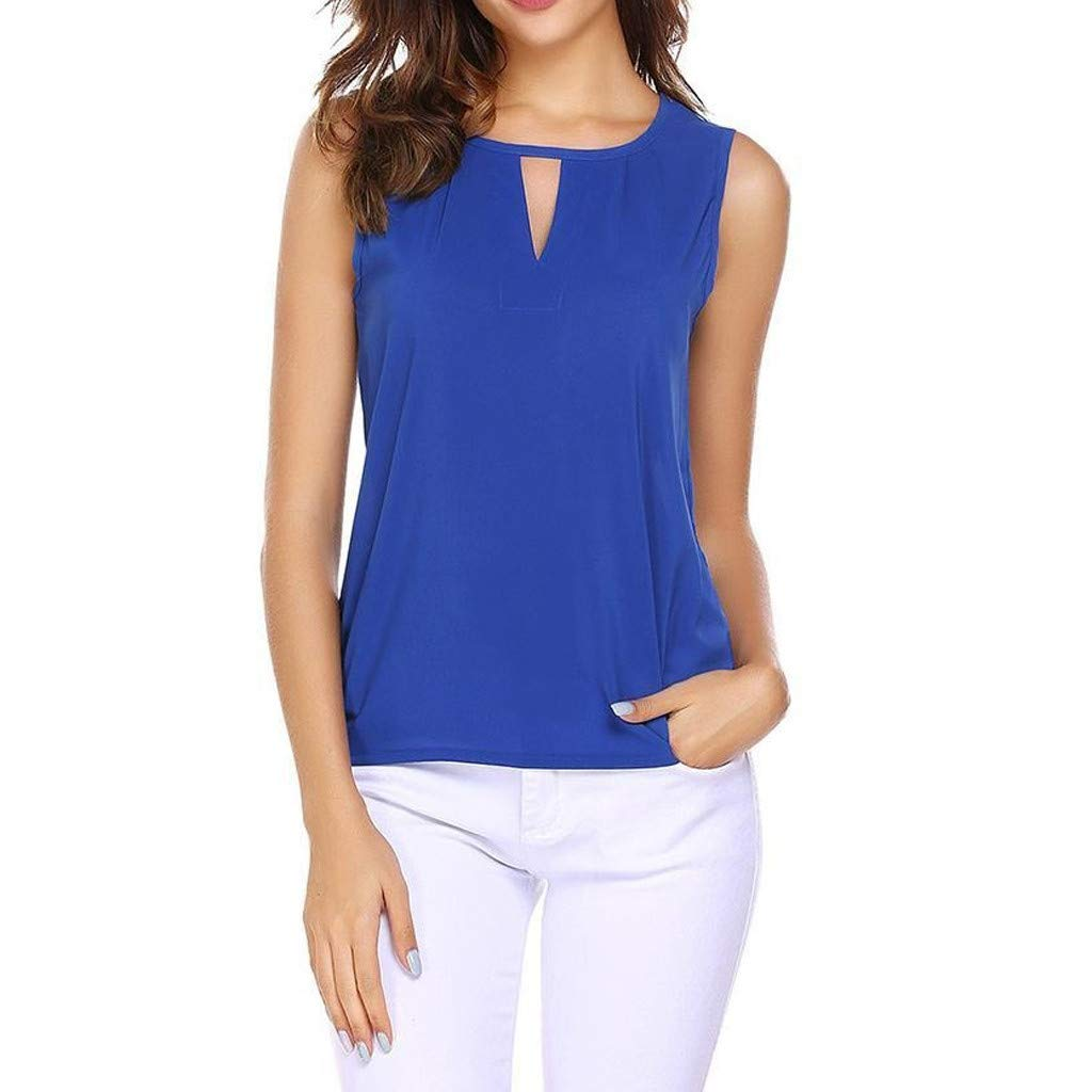 Hollow Out Tank Top,Youngh Fashion Women Sexy Solid O-Neck Hollow Out Sleeveless Casual Crop Tank Top Blue
