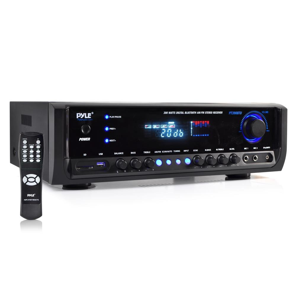 Pyle PT390BTU Bluetooth Digital Home Theater Stereo Receiver, Aux Input, MP3/USB/SD Readers, AM/FM Radio, 300 Watt