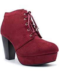 Camille-86 Womens Comfort Stacked Chunky Heel Lace Up Ankle Booties