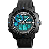 Men's Analog Sports Watch, JLOX Military Wrist watch Large Dual Dial Digital Outdoor Watches Electronic Malfunction Two Timezone Back Light Water Resistant Calendar Day Date