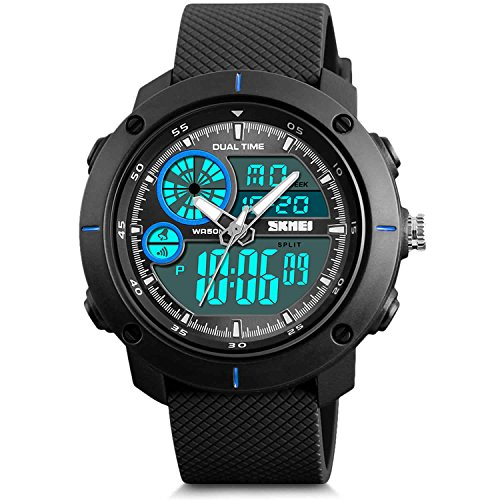 (Men's Analog Sports Watch, Jlox Military Wrist Watch Large Dual Dial Digital Outdoor Watches Electronic Malfunction Two Timezone Back Light Water Resistant Calendar Day Date -)