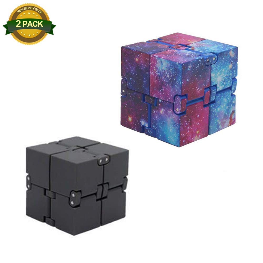2 Pack Infinity Cube Turn Spin Cube Spinner Infinity Flip Cube Square Decompression and Killing Time Toy for Children and Adults Chelseabyt