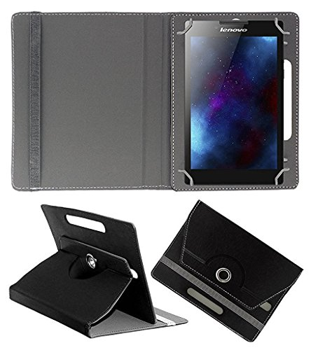 ECellStreet ™ PU Leather Rotating 360° Flip Case Cover with Tablet Stand for Asus Zenpad c 7.0 Z170CG   Black