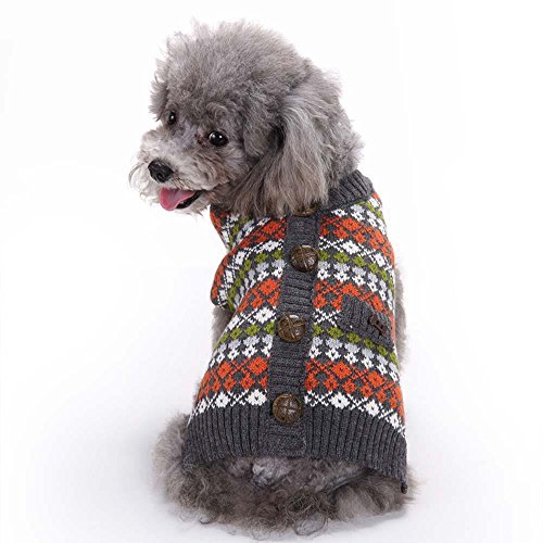 Lotus.flower British Style Pet Sweater, Cat Dog Puppy Plaid Knitted Clothing Knitwear Outerwear Soft Warm Winter Clothes (L)