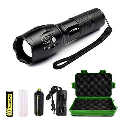 (WdtPro Super Bright Tactical Flashlights - Rechargeable Led Flashlight with 5 Modes(18650 Battery & Charger Included) - Outdoor Water Resistant Tac light Torch Flashlight - Perfect for Camping Gift)