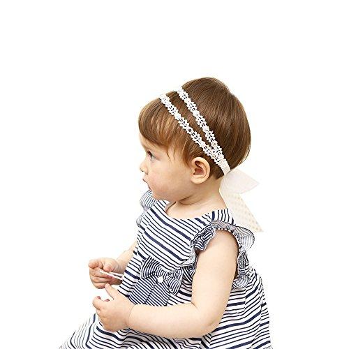 HUIXIANG Baby Girl Stretchy Lace Headband Pearl and Rhinestone Elastic Hair Band - Elastic Band Rhinestone