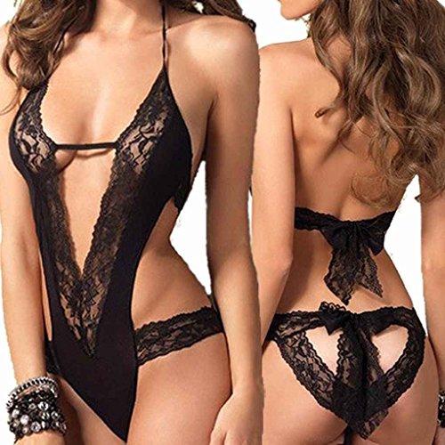 Donne Temptation Spliced Erotic Lingerie Mengonee Lingerie Sleepwear Costume Sexy Nero HSZqngWp
