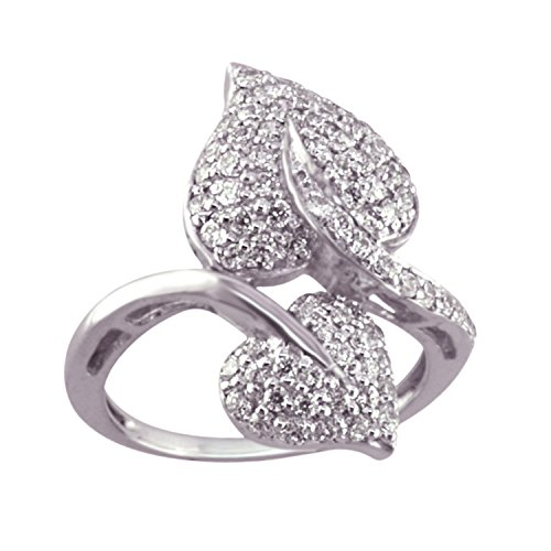 1.09 Ct Heart (VBJewels 1.09ct Round Cut Cubic Zirconia Double Heart Engagement Ring 7 14k White Gold Finish Alloy)