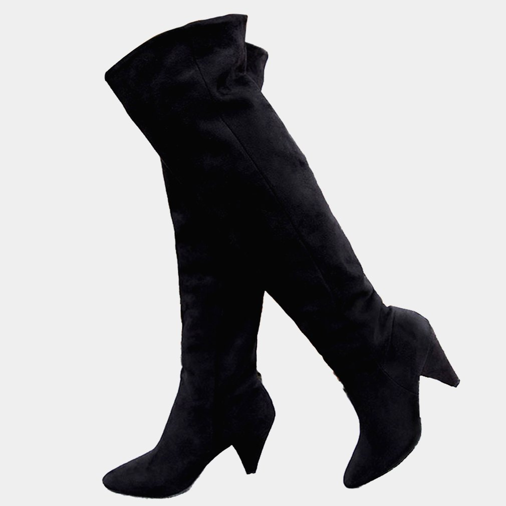 Women Over The Knee Boots Wide Calf Thigh High Long Black Loose Casual Boot