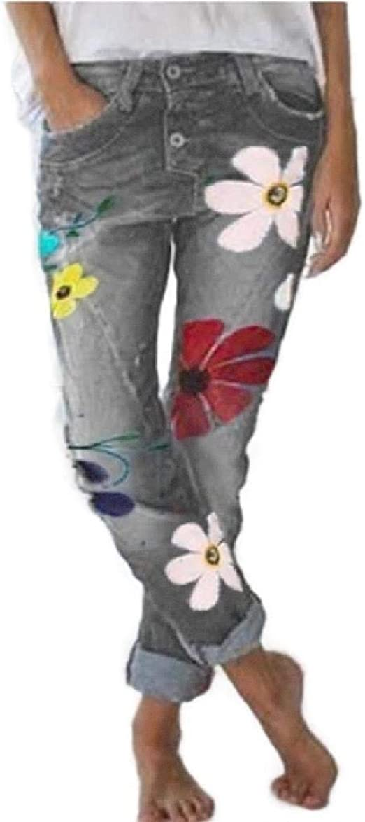 AngelSpace Women's Casual Loose Floral Printed Pencil Sexy Denim Jeans