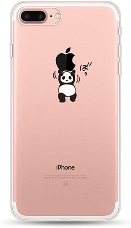 Freessom Coque Iphone 6 6s Silicone Transparente Motif Panda Drole Mignon Kawaii Simple Chic Apple Dessin Noir Fine Design Original Fantaisie Anti