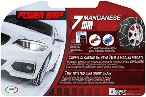 Catene da Neve Power Grip 7mm Omologate gruppo 100 pneumatici 215//55r17 07X100