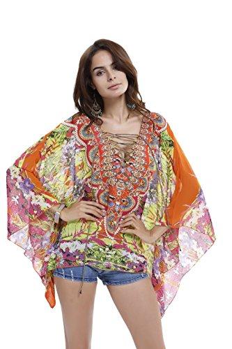 Blouse shirt Shirt Manche De Mousseline Soie 3 Femme T Push Top En up Plage Chauve Acvip 4 Orange souris wfn0I5qnv