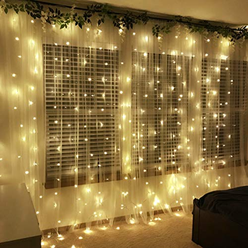Fairy Lights 300 LEDs 9.84ft x 9.84ft Window Curtain Lights 8 Modes USB Ch... Curtain Lights