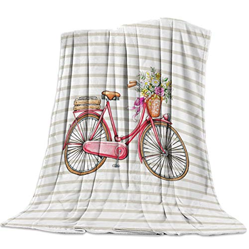 - wanxinfu Decorative Throw Blanket for Living Roome/Office/Bedroom, Red Bicycle Flower Basket Stripe - Luxury Warm Soft Cozy Flannel Microfiber Lightweight Blanket for All Season, 49''W x 59''L