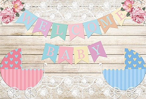 CSFOTO 8x6ft Background for Sweet Baby Shower Banner on Wooden Wall Photography Backdrop Gender Reveal Party Baby Carriage Pink Flower Pregnant Celebration Photo Studio Props Vinyl Wallpaper (Digital Album Photo 8')
