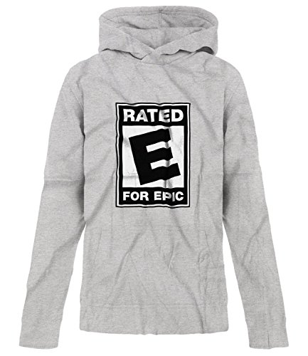Price comparison product image BSW Youth Girls Rated E For Epic ESRB Video Entertainment Logo Hoodie SM Grey