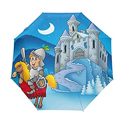 85%OFF ColourLife Knight on Horse with Castle Auto Open Close Foldable Windproof Umbrella