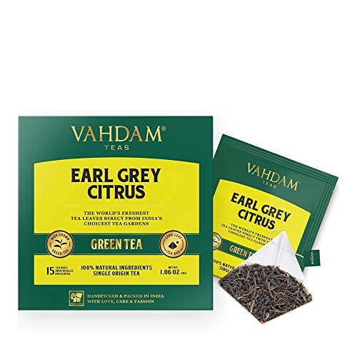 VAHDAM, Earl Grey Citrus Green (30 Tea Bags), Green Tea Leaves from the Himalayas blended with Natural Bergamot Oil - Finest Earl Grey Tea Bags, Long Leaf Bergamot Tea Bags, Detox Tea & Slimming Tea