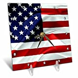 3dRose Alexis Design - America - Flag of the United States Of America. Stars to the left - 6x6 Desk Clock (dc_270543_1)