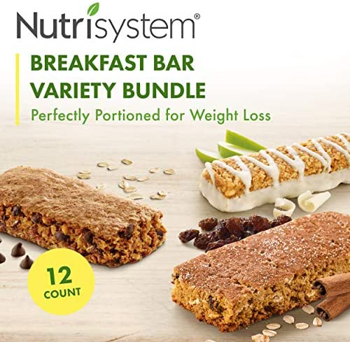 Nutrisystem® Breakfast Bar Variety Bundle, 12 ct, Meal Replacement Bars for Weight Loss