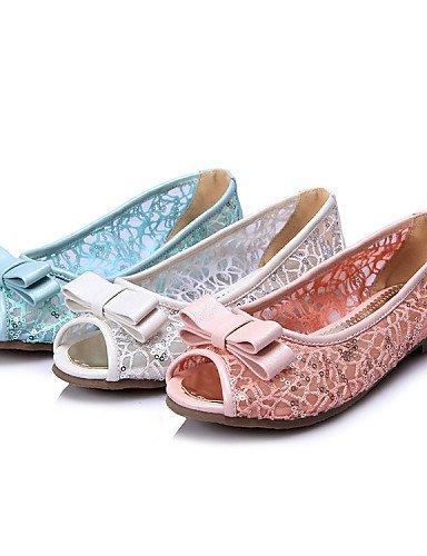 PDX/ Damenschuhe-Sandalen-Kleid / Lässig-Spitze / Kunstleder-Flacher Absatz-Zehenfrei / Komfort-Blau / Rosa / Weiß pink-us7.5 / eu38 / uk5.5 / cn38