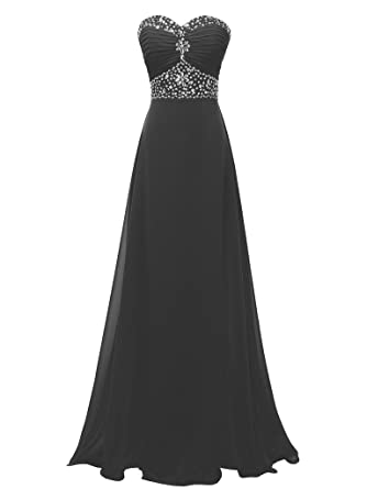 SOLOVEDRESS Womens Chiffon Long Evening Prom Dress Crystal Bridesmaid Gown (US 2, Black)