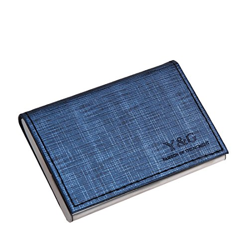 Leather Business Card Holder (YDC05B01 Steel Blue Black Economics Design Artificial Leather Card Holder Fashion Gift Idea With Gift Box By Y&G)