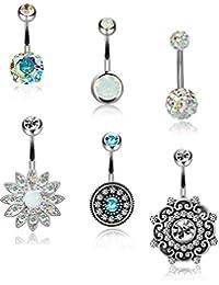 6PCS 14G 316L Stainless Steel Belly Button Rings for Women Girls Navel Rings Barbell Body Piercing