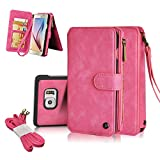 Galaxy S6 Edge plusCase, CORNMI Samsung Galaxy S6 Edge plus Wallet Case ,Vintage Leather Magnetic Flip Wallet Case with 14 Credit Card Holder & Wrist Strap for Samsung Galaxy S6 Edge plus (Pink)