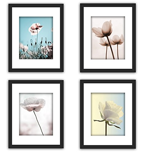 4Pcs 11x14 Real Glass Wood Frame Black ,3 Kind Matted Fit 4x6 8x10 Image Pictures Photo Certificate 8.5x11 inch Desktop Stand or Wall Hang Vertical Horizontal Mat Family Decoration (29-32)