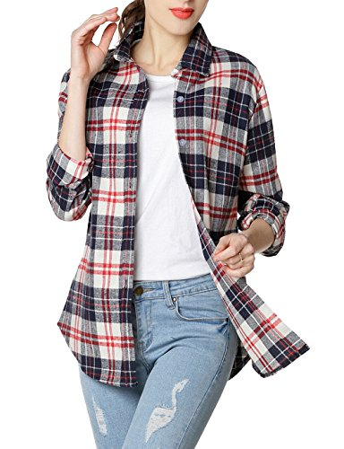 Multi Flannel Plaid - GUANYY Women's Long Sleeve Casual Loose Classic Plaid Button Down Shirt(Red White,X-Large)
