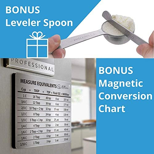 Stainless Steel Measuring Cups and Spoons Set: 7 Cup and 7 Spoon Metal Measure Sets of 14 Piece for Dry & Liquid Measurement - Kitchen Gadgets & Utensils for Cooking Food & Baking - Best for Nesting 8
