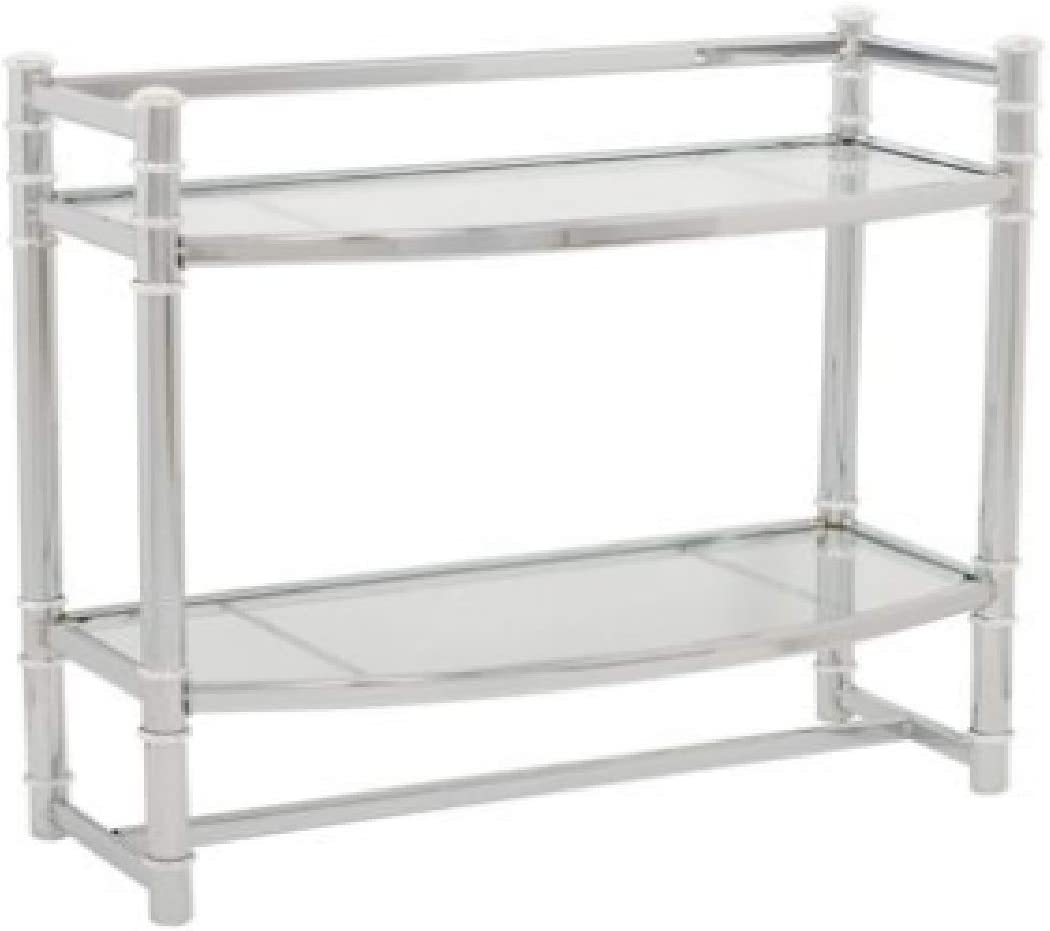 Zenith Wall Shelf with 2 Glass Shelves, Chrome Finish