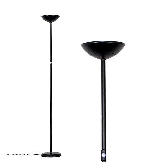 Modern Black 24w Integrated LED Dimmable Uplighter Floor Lamp with Blue Switch [Energy Class A+]