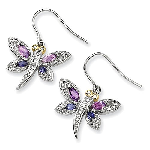 Lex & Lu Sterling Silver & 14K Amethyst & Iolite & Diamond Dragonfly Earrings